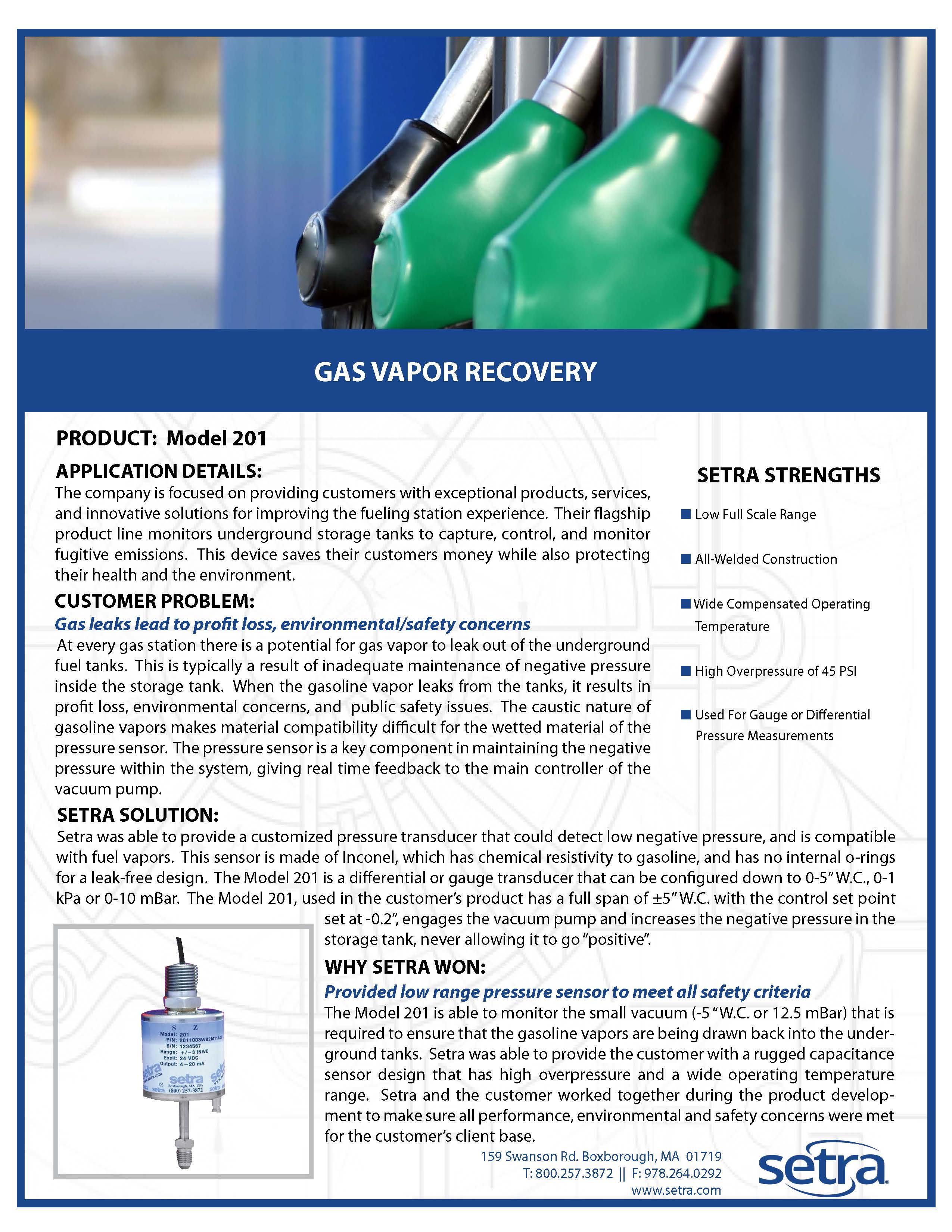 gas vapour recovery; oil and gas; test and measurement; setra 201; pressure transducers