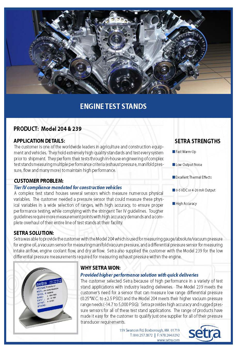 setra 204; pressure transducers; automotive; engine test benches; test stands; pressure monitoring