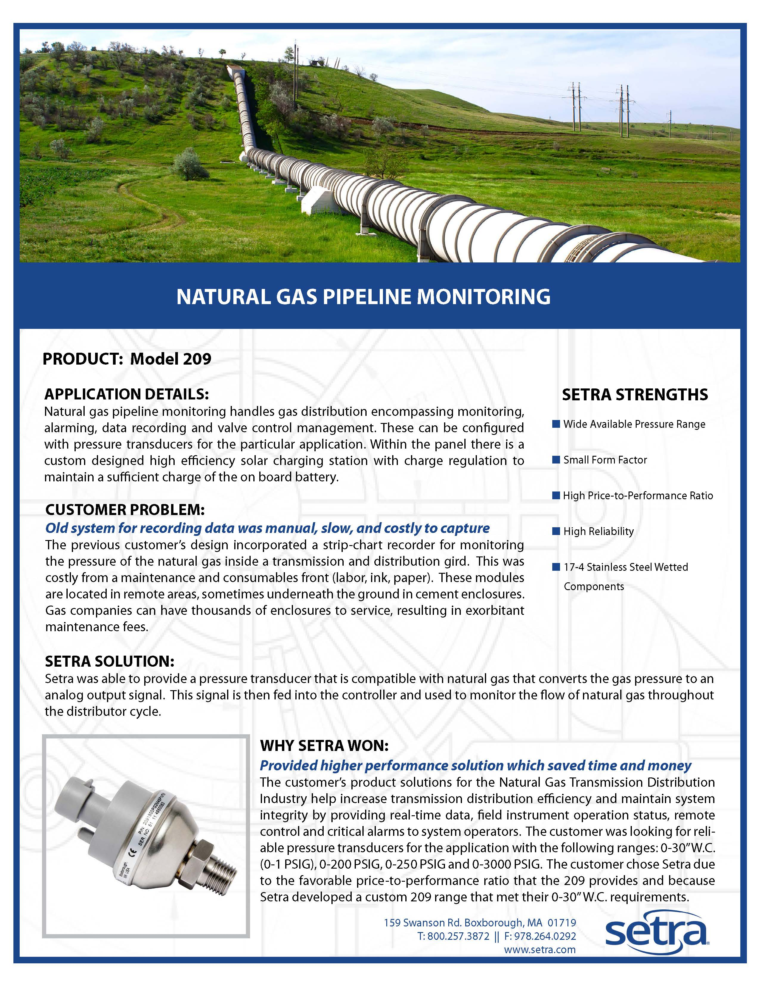 setra 209; oil and gas; natural gas pipeline; pressure transducers; pressure monitoring