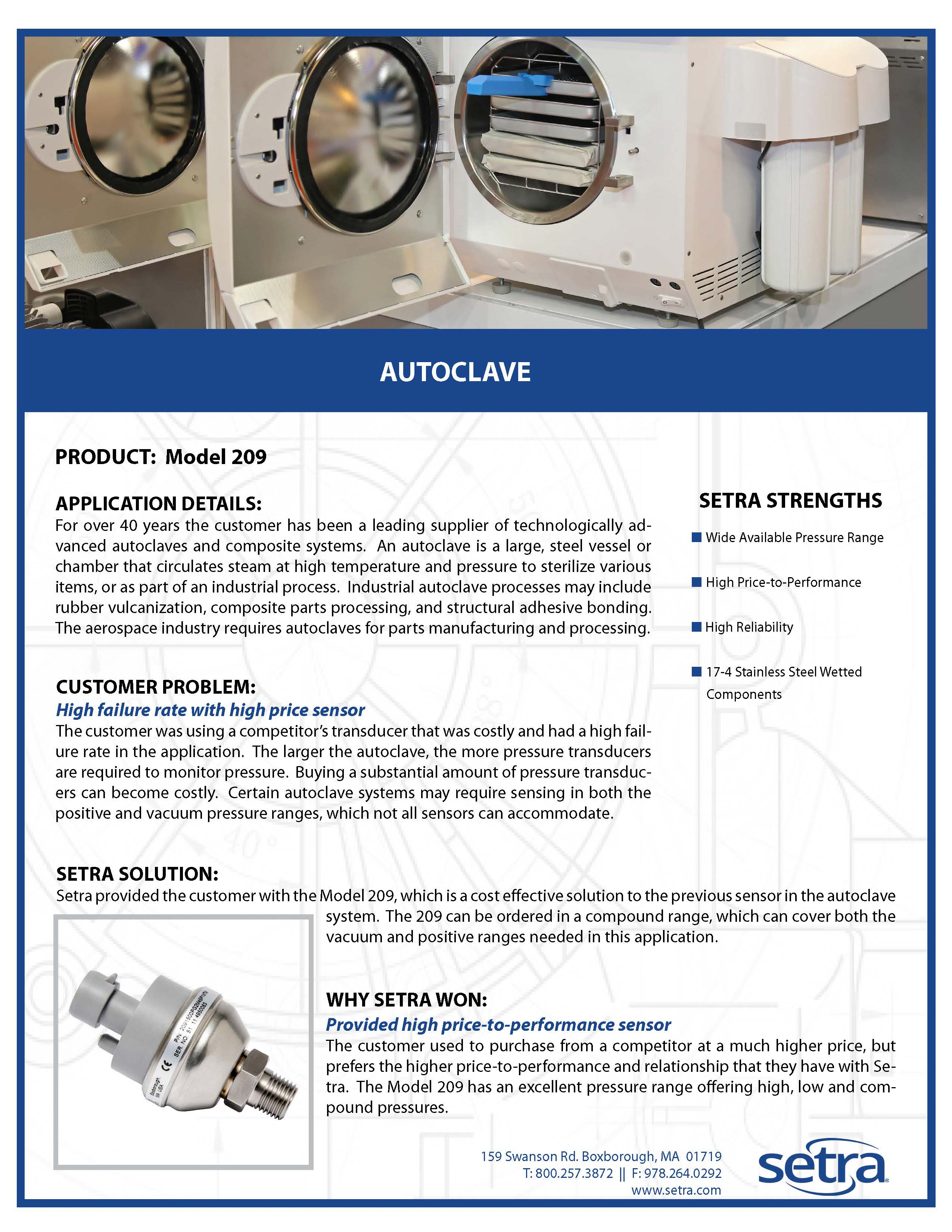 setra 209; pressure transducers; autoclaves; medical; pressure monitoring