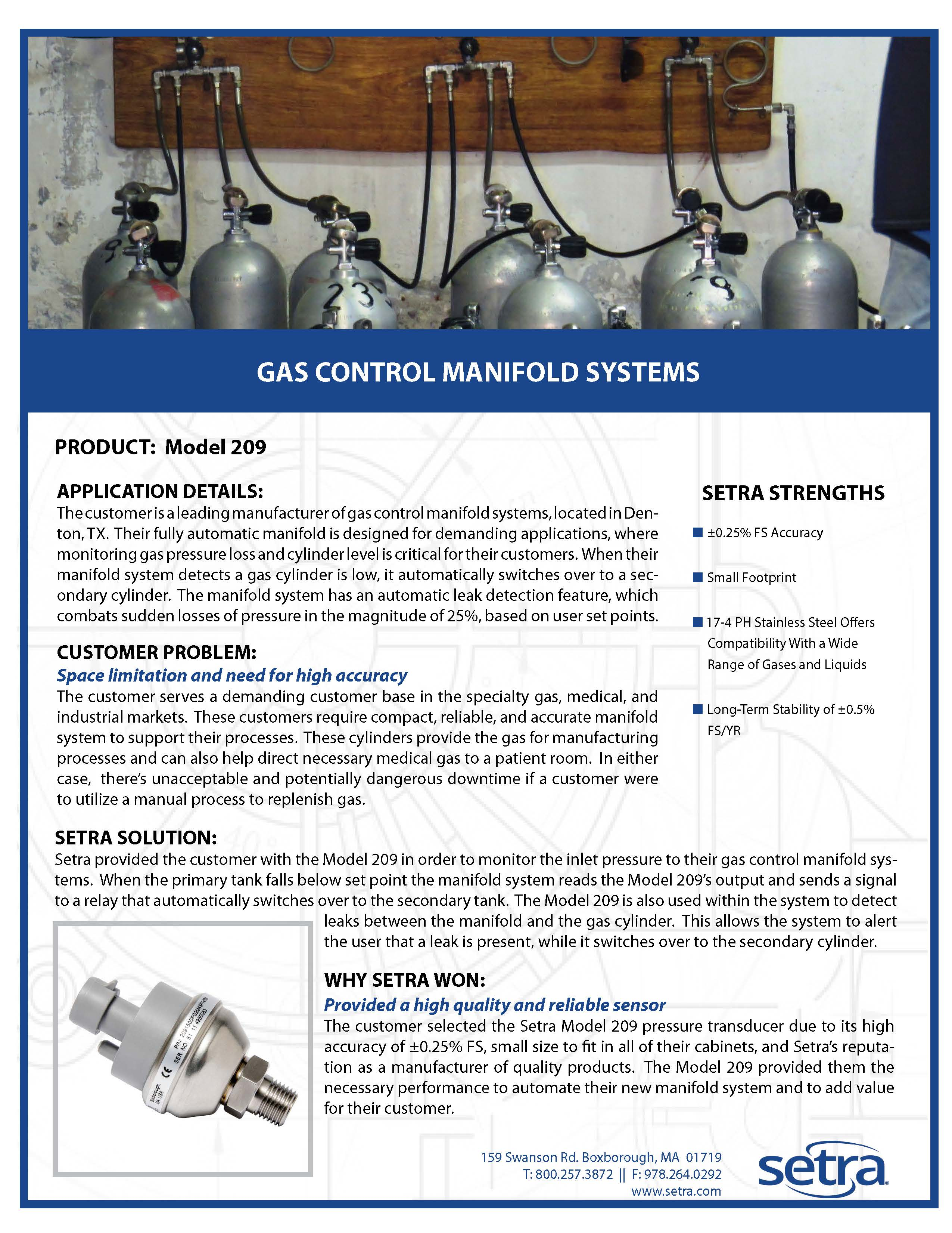 setra 209; pressure transducers; gas control; gas manifold systems; pressure monitoring