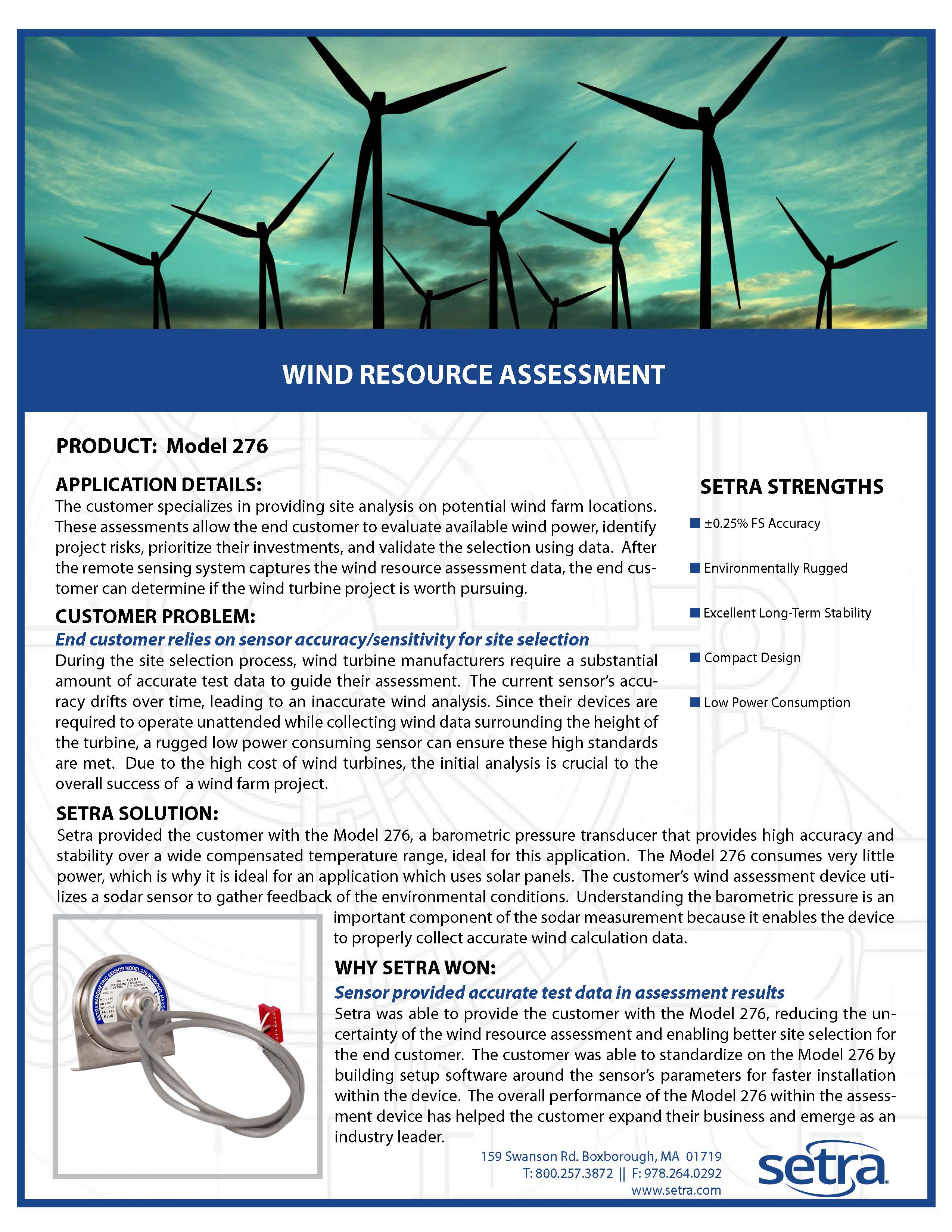 setra 276; renewable energy; wind monitoring; pressure measurement; pressure transducers