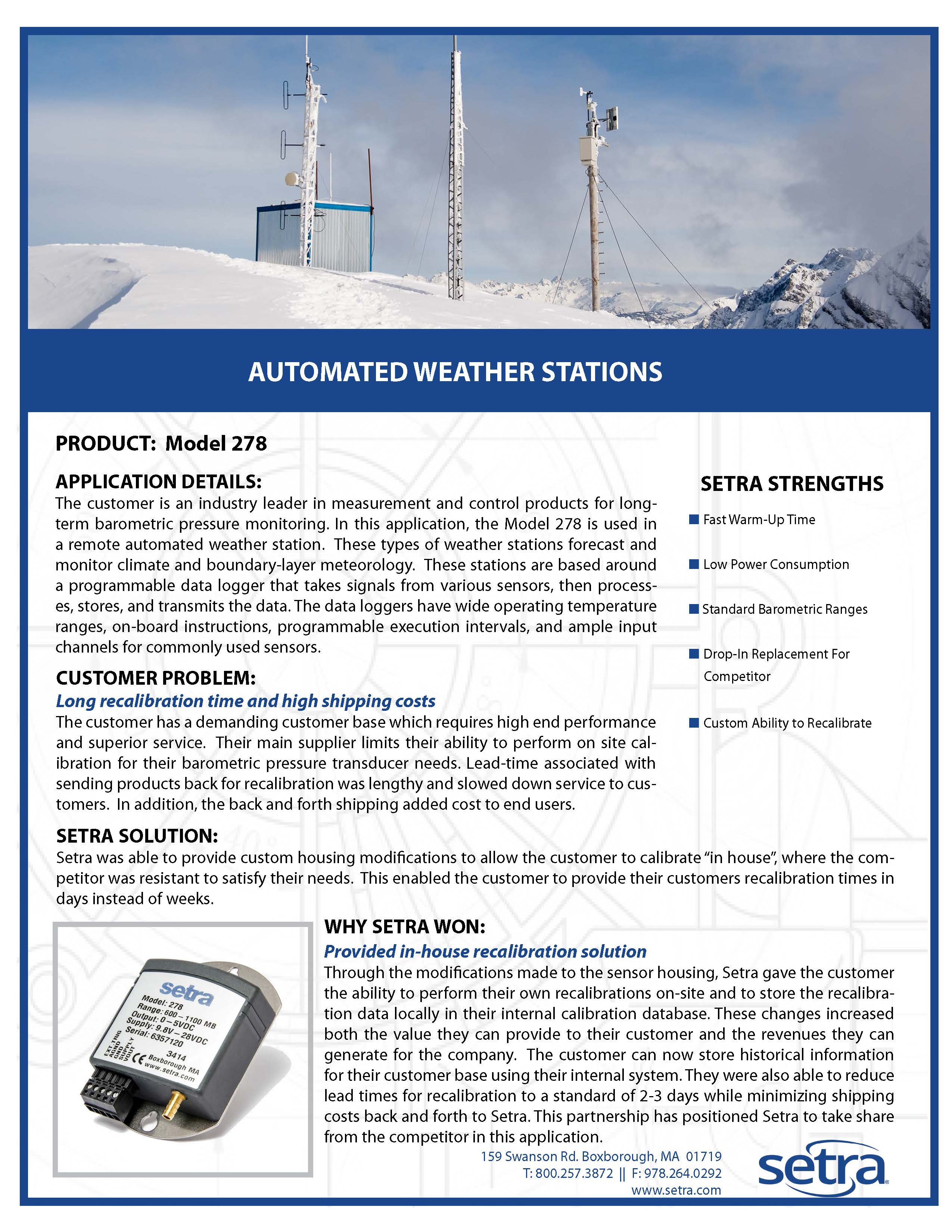setra 278; renewable energy; weather stations; pressure monitoring; pressure measurement; pressure transducers