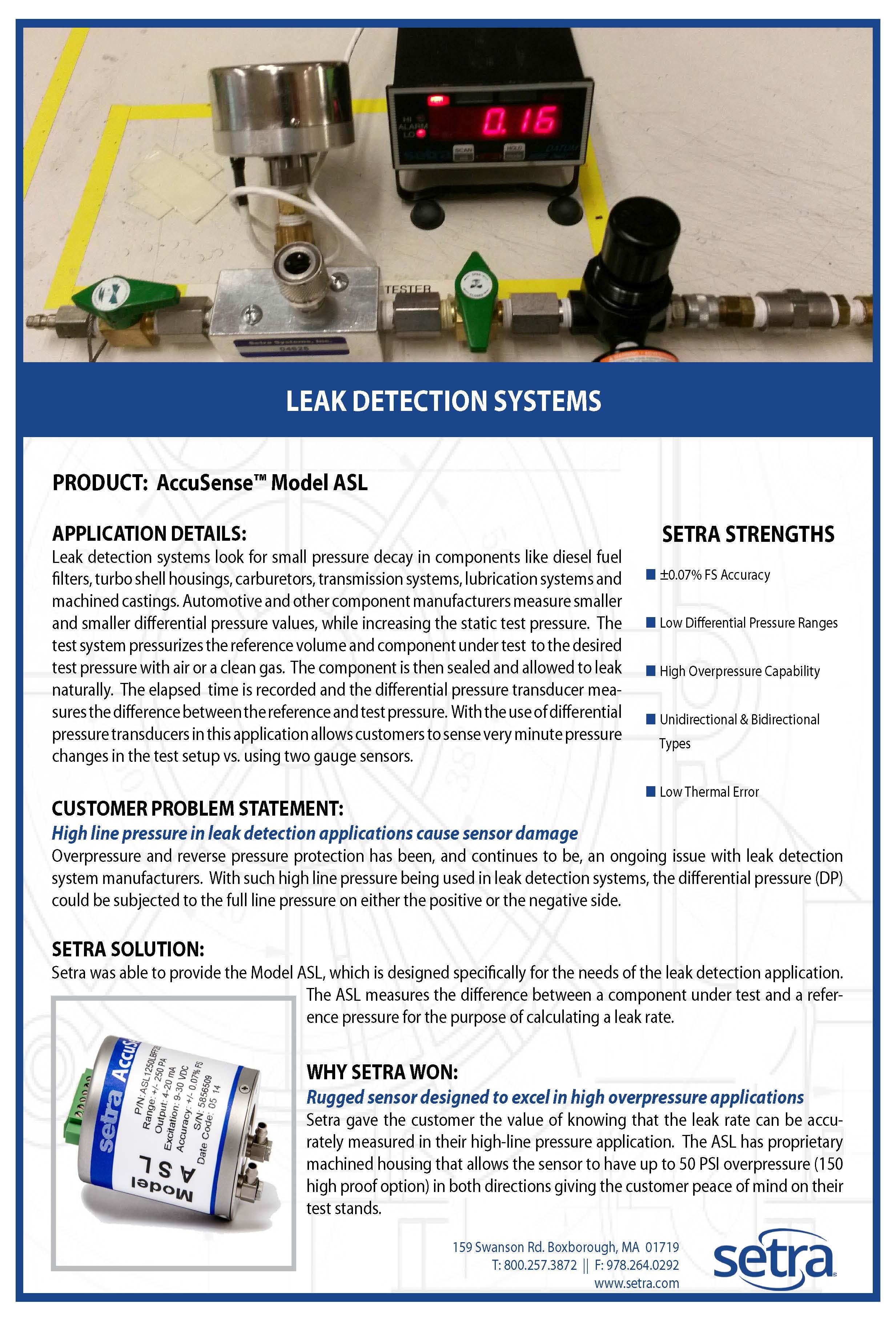 setra asl; leak detection; automotive; pressure measurement; pressure transducers; pressure sensing