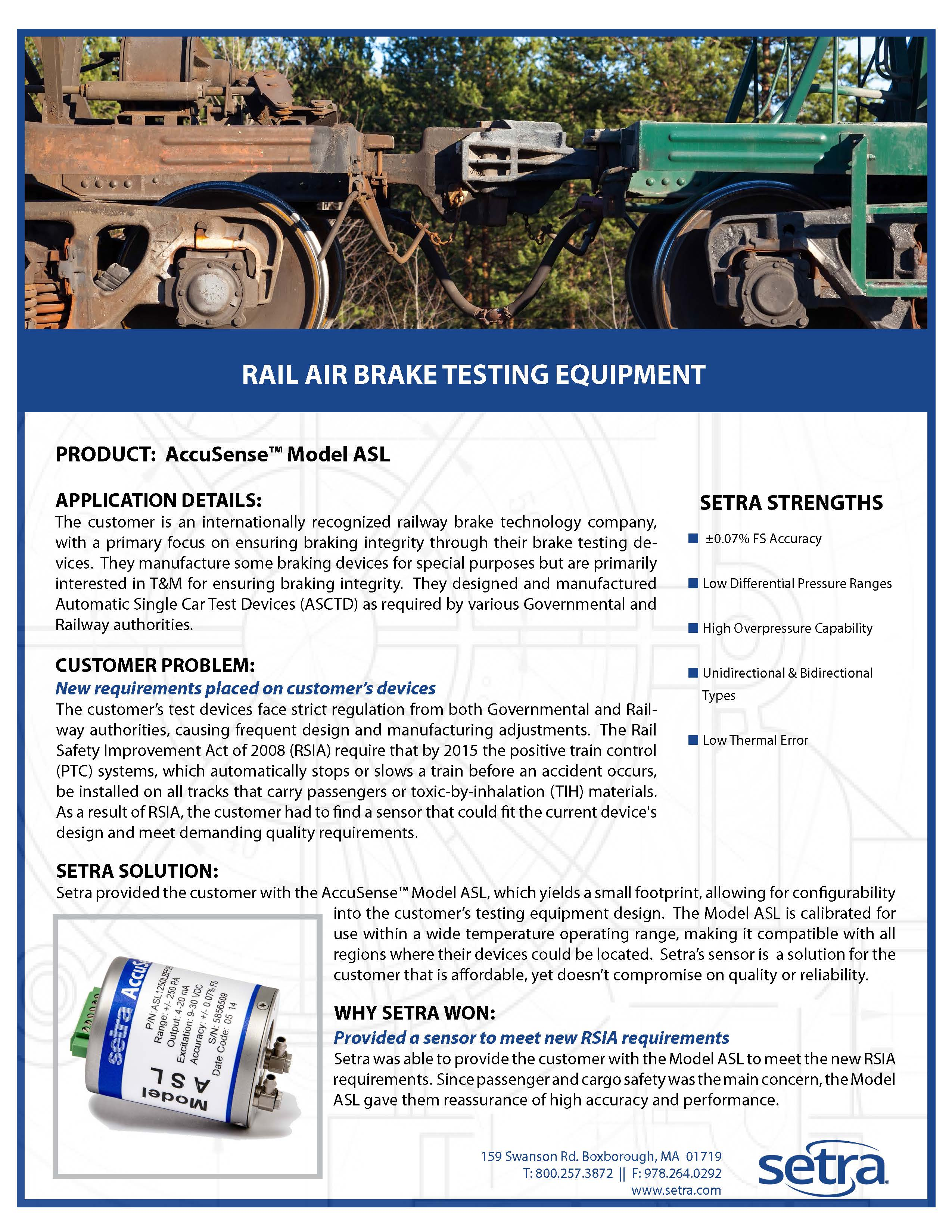 setra asl; pressure transducers; automotive; railway; brake testing; pressure sensing
